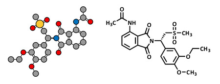 spondylitis: Apremilast investigational psoriasis drug, chemical structure. Conventional skeletal formula and stylized representation, showing atoms (except hydrogen) as color coded circles. Illustration