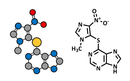 Azathioprine immunosuppressive drug, chemical structure. Used to prevent transplant rejection and in treatment of autoimmune disease. Conventional skeletal formula and stylized representation, showing atoms (except hydrogen) as color coded circles.