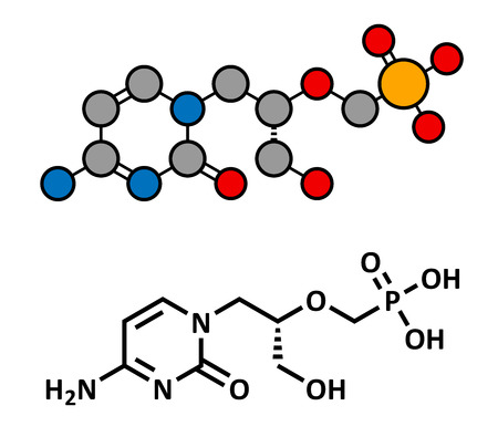 Cidofovir cytomegalovirus (CMV, HCMV) drug, chemical structure. Can probably also be used against smallpox infection. Conventional skeletal formula and stylized representation, showing atoms (except hydrogen) as color coded circles. Illustration
