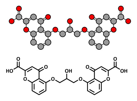 mast cell: Cromoglicic acid (cromolyn, cromoglycate) asthma and allergy drug, chemical structure. Conventional skeletal formula and stylized representation, showing atoms (except hydrogen) as color coded circles.
