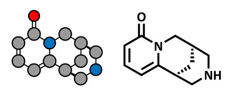 Cytisine (baptitoxine, sophorine) smoking cessation drug, chemical structure. Conventional skeletal formula and stylized representation, showing atoms (except hydrogen) as color coded circles.