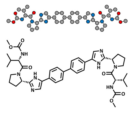 hepatitis virus: Daclatasvir experimental (2013) hepatitis C virus drug, chemical structure. Conventional skeletal formula and stylized representation, showing atoms (except hydrogen) as color coded circles.