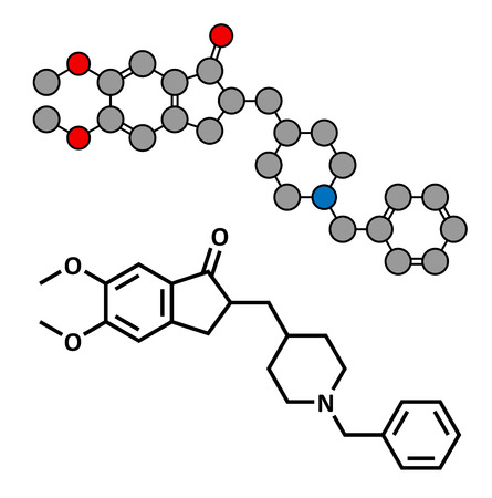 acetylcholinesterase: Donepezil Alzheimers disease drug, chemical structure. Conventional skeletal formula and stylized representation, showing atoms (except hydrogen) as color coded circles.