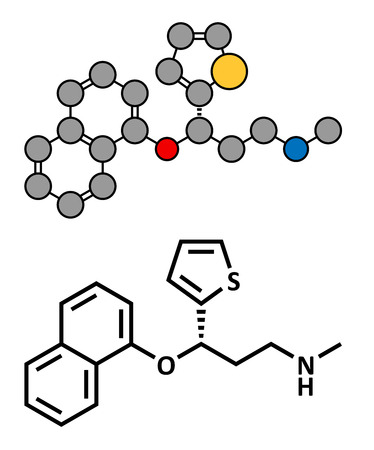 Duloxetine antidepressant drug (SNRI class), chemical structure. Also used in fibromyalgia treatment, etc. Conventional skeletal formula and stylized representation, showing atoms (except hydrogen) as color coded circles.
