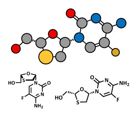 hbv: Emtricitabine HIV treatment drug, chemical structure. Conventional skeletal formula and stylized representation, showing atoms (except hydrogen) as color coded circles. Illustration