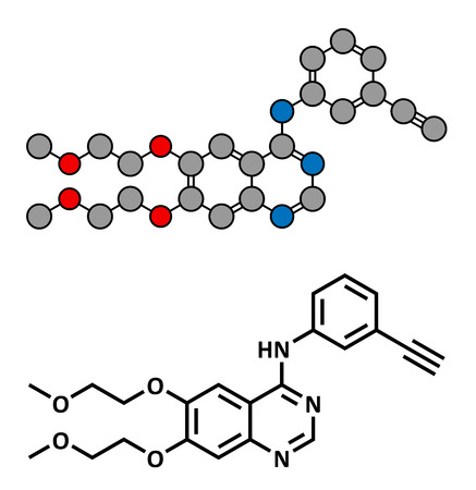 pancreatic cancer: Erlotinib cancer drug, chemical structure. Conventional skeletal formula and stylized representation, showing atoms (except hydrogen) as color coded circles.