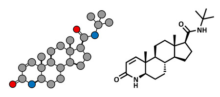 enlarged: finasteride male pattern baldness drug, chemical structure. Also used in benign prostatic hyperplasia (BPH, enlarged prostate) treatment. Conventional skeletal formula and stylized representation, showing atoms (except hydrogen) as color coded circles.  Illustration