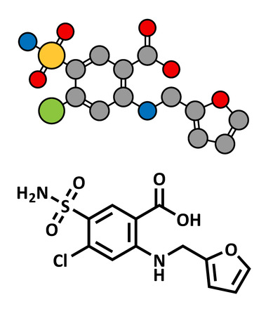 edema: Furosemide diuretic drug, chemical structure. Medically used to treat hypertension. Also used as masking agent in sports doping. Conventional skeletal formula and stylized representation, showing atoms (except hydrogen) as color coded circles.