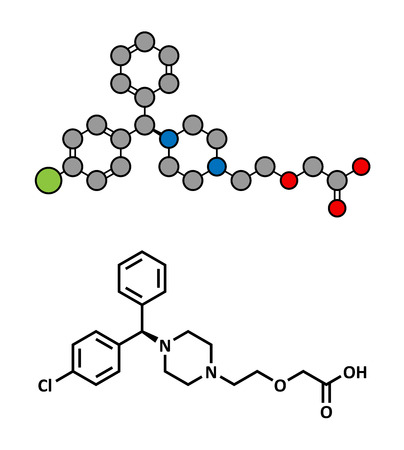 antihistamine: Cetirizine (levocetirizine) antihistamine drug, chemical structure. Used to treat hay fever, urticaria and allergies. Conventional skeletal formula and stylized representation, showing atoms (except hydrogen) as color coded circles.