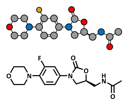 bacteriostatic: Linezolid antibiotic drug (oxazolidinone class), chemical structure. Conventional skeletal formula and stylized representation, showing atoms (except hydrogen) as color coded circles.  Illustration