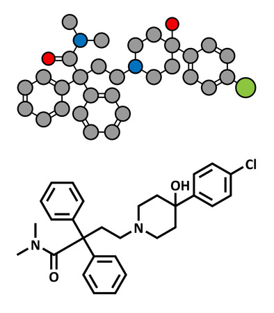 opioid: Loperamide diarrhea drug, chemical structure. Conventional skeletal formula and stylized representation, showing atoms (except hydrogen) as color coded circles.