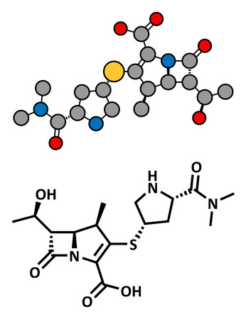 penicillin: Meropenem broad-spectrum antibiotic (carbapenem class), chemical structure Conventional skeletal formula and stylized representation, showing atoms (except hydrogen) as color coded circles.  Illustration
