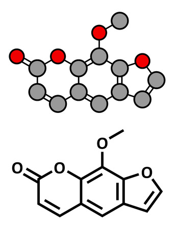radiation therapy: methoxsalen (psoralen) skin disease drug, chemical structure. Used in PUVA therapy in combination with UVA radiation. Conventional skeletal formula and stylized representation, showing atoms (except hydrogen) as color coded circles.  Illustration