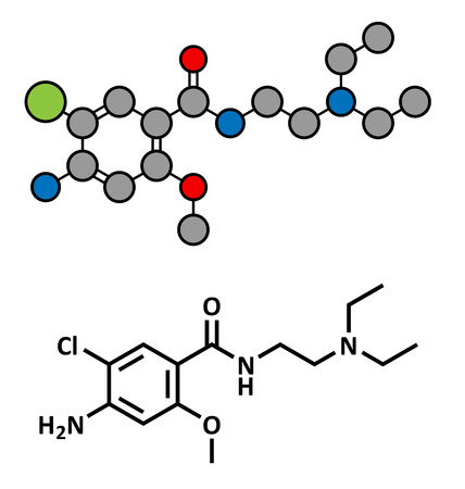 gastroparesis: Metoclopramide nausea and vomiting treatment drug, chemical structure. Conventional skeletal formula and stylized representation, showing atoms (except hydrogen) as color coded circles.