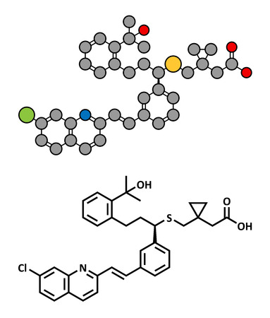 rhinitis: Montelukast asthma and airway allergy drug, chemical structure. Conventional skeletal formula and stylized representation, showing atoms (except hydrogen) as color coded circles.  Illustration