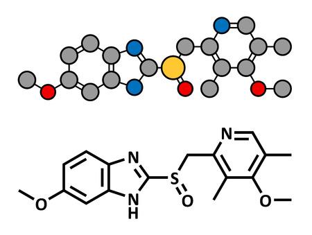ulc�re: L'om�prazole et la dyspepsie gastrique m�dicament de l'ulc�re (inhibiteur de pompe � protons), la structure chimique. Formule classique du squelette et de la repr�sentation stylis�e, montrant atomes (sauf l'hydrog�ne) comme code couleur des cercles. Illustration