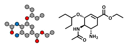h5n1: Oseltamivir influenza virus drug, chemical structure. Conventional skeletal formula and stylized representation, showing atoms (except hydrogen) as color coded circles.