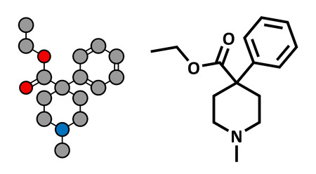 opioid: Pethidine opioid analgesic drug, chemical structure. Conventional skeletal formula and stylized representation, showing atoms (except hydrogen) as color coded circles.