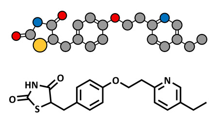 hyperglycemia: Pioglitazone diabetes drug, chemical structure. Conventional skeletal formula and stylized representation, showing atoms (except hydrogen) as color coded circles.