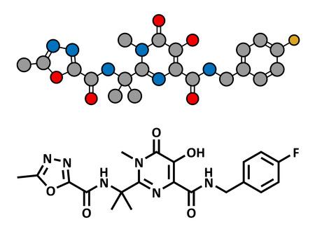 virus sida: Medicamentos Raltegravir VIH (clase de los inhibidores de la integrasa), estructura qu�mica. F�rmula convencional esquel�tico y representaci�n estilizada, mostrando �tomos (excepto el hidr�geno) como c�rculos de color codificado.