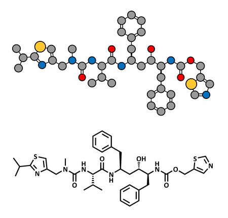 rifampicin (rifampin, rifamycin class) tuberculosis antibiotic, chemical structure. Conventional skeletal formula and stylized representation, showing atoms (except hydrogen) as color coded circles.