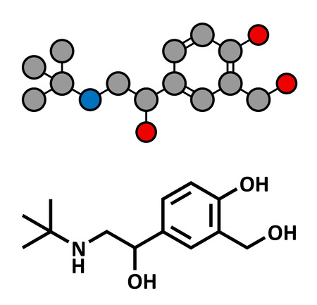 asthma: Salbutamol (albuterol) asthma drug, chemical structure. Often administered via inhaler. Conventional skeletal formula and stylized representation, showing atoms (except hydrogen) as color coded circles.