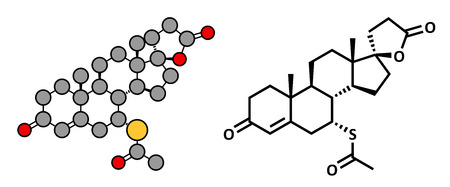 diuretic: Spironolactone diuretic, antihypertensive and antiandrogen drug, chemical structure. Conventional skeletal formula and stylized representation, showing atoms (except hydrogen) as color coded circles.