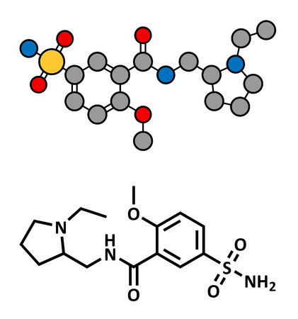psychotic: Sulpiride antipsychotic (neuroleptic) drug, chemical structure. Conventional skeletal formula and stylized representation, showing atoms (except hydrogen) as color coded circles.