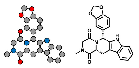 Tadalafil erectile dysfunction drug, chemical structure. Conventional skeletal formula and stylized representation, showing atoms (except hydrogen) as color coded circles.  Vector