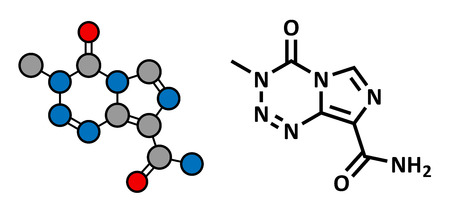 teratogenic: Temzolomide cancer chemotherapy drug, chemical structure. Conventional skeletal formula and stylized representation, showing atoms (except hydrogen) as color coded circles.