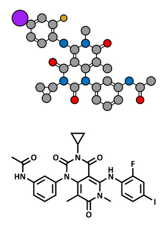 oncology: Trametinib melanoma cancer drug, chemical structure. Conventional skeletal formula and stylized representation, showing atoms (except hydrogen) as color coded circles.