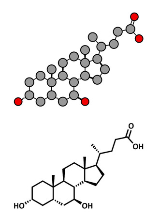 gallstone: Ursodiol (ursodeoxycholic acid, UDCA) gallstone treatment drug, chemical structure. Conventional skeletal formula and stylized representation, showing atoms (except hydrogen) as color coded circles.  Illustration