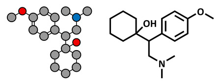 norepinephrine: Venlafaxine antidepressant drug (SNRI class), chemical structure. Conventional skeletal formula and stylized representation, showing atoms (except hydrogen) as color coded circles.