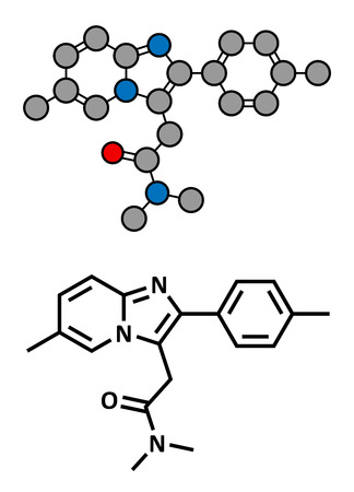 Zolpidem insomnia drug (sleeping pill), chemical structure. Conventional skeletal formula and stylized representation, showing atoms (except hydrogen) as color coded circles.