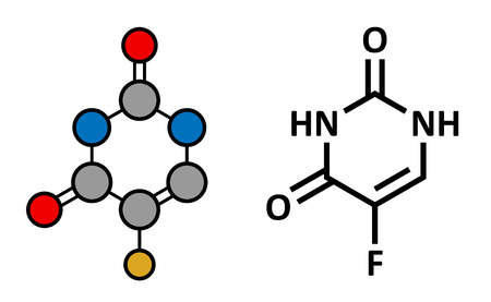 colorectal cancer: Fluorouracil (5-FU, FU) cancer chemotherapy drug, chemical structure. Conventional skeletal formula and stylized representation, showing atoms (except hydrogen) as color coded circles.