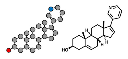 urologist: Abiraterone prostate cancer drug, chemical structure. Conventional skeletal formula and stylized representation, showing atoms (except hydrogen) as color coded circles. Illustration