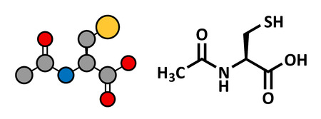 Acetylcysteine (NAC) mucolytic drug, chemical structure. Also used to treat paracetamol overdose. Conventional skeletal formula and stylized representation, showing atoms (except hydrogen) as color coded circles. Vector