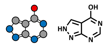 Allopurinol gout drug, chemical structure. Conventional skeletal formula and stylized representation, showing atoms (except hydrogen) as color coded circles.