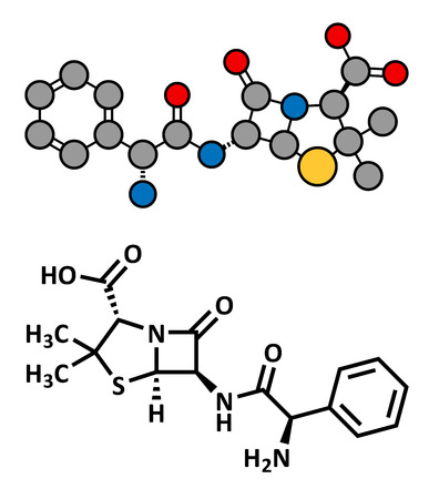 beta cell: Ampicillin beta-lactam antibiotic drug, chemical structure. Conventional skeletal formula and stylized representation, showing atoms (except hydrogen) as color coded circles.