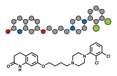 antidepressant: Aripiprazole antipsychotic drug, chemical structure. Conventional skeletal formula and stylized representation, showing atoms (except hydrogen) as color coded circles. Illustration