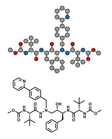 protease: F�rmaco atazanavir VIH (clase de los inhibidores de la proteasa), la estructura qu�mica. F�rmula convencional esquel�tico y representaci�n estilizada, mostrando �tomos (excepto el hidr�geno) como c�rculos de color codificado.
