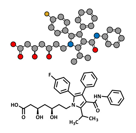 lowering: Atorvastatin cholesterol lowering drug (statin class), chemical structure. Conventional skeletal formula and stylized representation, showing atoms (except hydrogen) as color coded circles.