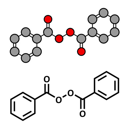 Benzoyl peroxide acne treatment drug, chemical structure. Also used to dye hair and whiten teeth (bleaching). Conventional skeletal formula and stylized representation, showing atoms (except hydrogen) as color coded circles.