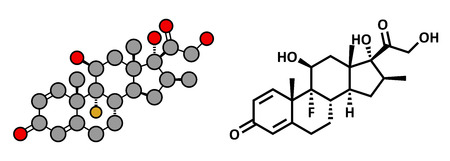 Betamethasone anti-inflammatory and immunosuppressive steroid drug, chemical structure. Conventional skeletal formula and stylized representation, showing atoms (except hydrogen) as color coded circles.