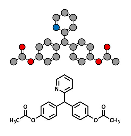 laxative: Bisacodyl laxative drug, chemical structure. Conventional skeletal formula and stylized representation, showing atoms (except hydrogen) as color coded circles.