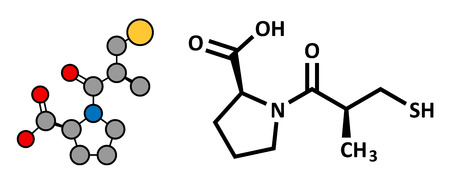 enzyme: Captopril high blood pressure (hypertension) drug. An angiotensin-converting enzyme inhibitor (ACE inhibitor) Conventional skeletal formula and stylized representation, showing atoms (except hydrogen) as color coded circles.