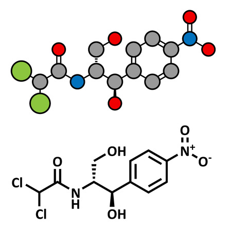 marrow: Chloramphenicol antibiotic drug, chemical structure. Conventional skeletal formula and stylized representation, showing atoms (except hydrogen) as color coded circles.