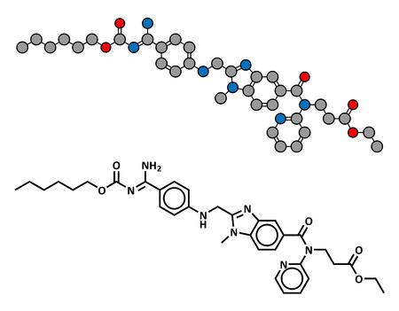 anticoagulant: F�rmaco anticoagulante dabigatr�n (inhibidor directo de la trombina), estructura qu�mica. F�rmula convencional esquel�tico y representaci�n estilizada, mostrando �tomos (excepto el hidr�geno) como c�rculos de color codificado.