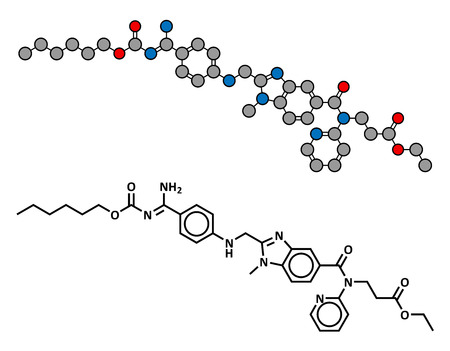 Dabigatran anticoagulant drug (direct thrombin inhibitor), chemical structure. Conventional skeletal formula and stylized representation, showing atoms (except hydrogen) as color coded circles.
