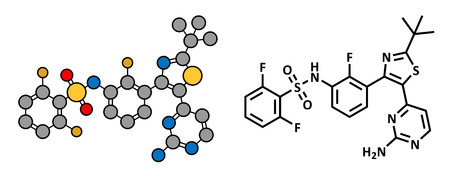 melanoma: Dabrafenib melanoma cancer drug, chemical structure. Conventional skeletal formula and stylized representation, showing atoms (except hydrogen) as color coded circles.